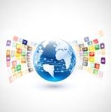 Welt mit Vielzahlikonen-Kommunikationskonzept Stockbild