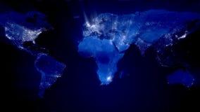 Welt nachts mit Ray von Lichtern (Schleife) lizenzfreie abbildung