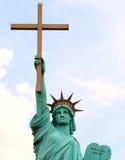 Welt-Overcomers-Outreach-Ministerium-Kirchen-Freiheitsstatue lizenzfreies stockfoto