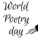 Welt-Poesie-Tages-Illustration mit dem Tintenfüllfederhalter, gemacht in Schwarzweiss--3d Design für Karte, Druck oder T-Shirt Stockfotos