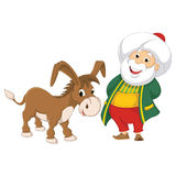 Lokalisierte alter Mann-und Esel-Vektor-Illustration Lizenzfreie Stockfotografie