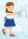 Mädchen-waschende Handvektor-Illustration lizenzfreie abbildung