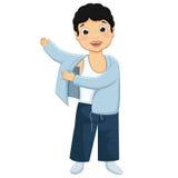 Jungen-tragende Pyjama-Vektor-Illustration Stockbilder