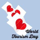 Welt-Tourismustages-minimalistic Retro- Vektorkonzept Lizenzfreie Stockfotografie