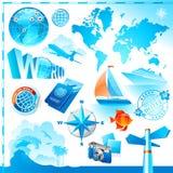 Welt- u. Reisenvektorset Stockfotos