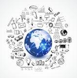 Welt und Geschäftskonzept mit dem Gekritzelgeschäft sy Stockfoto