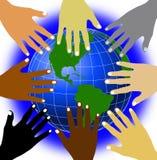 Welt und Hände lizenzfreie abbildung