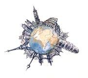 Weltarchitektur stock abbildung