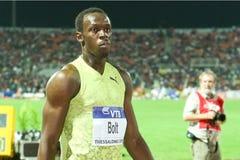 Weltathletik-Schluss 2009 des Usain Schraubemens-100m Stockfoto