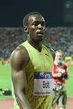 Weltathletik-Schluss 2009 des Usain Schraubemens-100m Stockbild