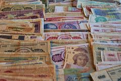 Weltbanknotenzusammenstellung Numismatische Ansammlung lizenzfreies stockfoto