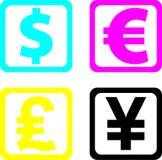Weltbargeld, Dollar, Euro, Stockfoto