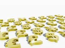 Weltbargeld, Dollar, Euro, Pound, Yen Lizenzfreies Stockbild