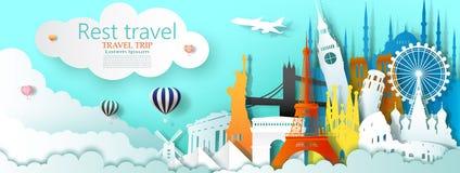 Weltberühmte Architektur des Reiseveranstaltermarkstein-Tourismus durch Ballon vektor abbildung