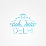 Weltberühmte Lotus Temple Größte Marksteine von Asien Lineares modernes Artvektor-Ikonensymbol von Neu-Delhi, Indien Stockfoto