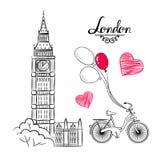 Weltberühmte Marksteinsammlung der Handskizze: Großer Ben London, England, Fahrrad, Ballone Stockbilder