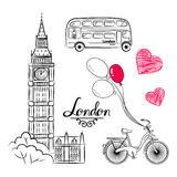 Weltberühmte Marksteinsammlung der Handskizze: Großer Ben London, England, Fahrrad, Ballone Stockfotografie
