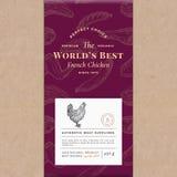 Weltbest-Geflügel-abstrakter Vektor-Kraftpapier-Weinlese-Abdeckungs-Plan Erstklassiger Fleischverpackungs-Entwurfs-Aufkleber Hand stock abbildung
