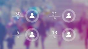 Weltbevölkerungs-Daten-Darstellungs-Konzept mit Unschärfe-Leute-Menge und lebhafte Diagramme mit Prozentsatz-Zahlen stock video footage