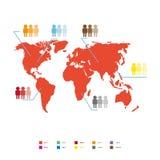 Weltbevölkerungsstatistik-Vektorillustration Rote globale Karte Lizenzfreie Stockbilder