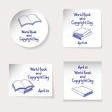 Weltbuch-und -Copyright-Tagesthema Satz Aufkleber oder Fahnen von verschiedenen Formen: Runde, Quadrat, Rechteck Aufschrift und v lizenzfreie abbildung