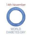 Weltdiabetestageslogoaquarell auf dem weißen Hintergrund lokalisiert Lizenzfreie Stockfotos