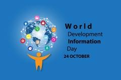 Weltentwicklungs-Informations-Tageshintergrund lizenzfreie stockfotografie