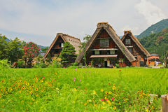 Welterbe shirakawago gasshozukuri Häuser lizenzfreies stockfoto