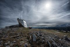 Welterbespirale & x22 διαστημικό ship& x22  εξέταση της πλατφόρμας στις Άλπεις, Αυστρία, σόου στοκ εικόνες