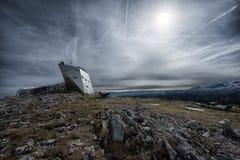 Welterbespirale & x22; ruimteship& x22; het bekijken van platform bij de Alpen, spectaculair Oostenrijk, Stock Afbeeldingen