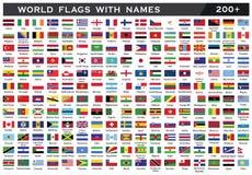 Weltflagge mit den Grafschaftsnamen, die durch Illustration zeichnen vektor abbildung