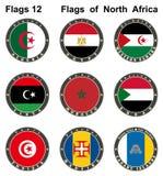 Weltflaggen Gebirgsoase Tamerza Schlucht in Republik Tunesien, Tozeur nahe Algerien-Grenze Stockfotos