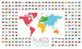 204 Weltflaggen mit Weltkarte durch Kontinente vector Illustration stock abbildung