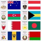 Weltflaggen und -Hauptstädte stellten 2 ein Stockbilder