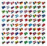Weltflaggenbeamtsatz Lizenzfreie Stockfotografie