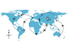 Weltflugzeugflug-Reisenplananschlüsse Stockfoto