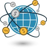 Weltgeld-Münzenkonverter stock abbildung
