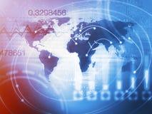 Weltgeschäfts-Hintergrund-Konzept im Blau Lizenzfreies Stockfoto