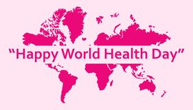 Weltgesundheits-Tagesgruß-Schablone mit Welthintergrund vektor abbildung