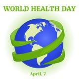 Weltgesundheits-Tageshintergrund mit grünem Band um Kugel in der Karikaturart Vektorillustration für Sie Design, Karte Lizenzfreies Stockfoto