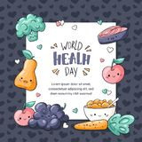 Weltgesundheits-Tageskarte Gesunde Nahrungsmittelgrußkarte in der Gekritzelart Kawaii-Birne, Apfel, muesli, Traube, Brokkoli, Kar lizenzfreie abbildung