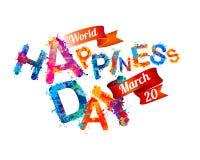 Weltglück-Tag 20. März Mit zusätzlichem vektorformat Spritzenfarbenbuchstabe Lizenzfreie Stockfotografie