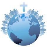 Weltglobale christliche Erde unter Kreuz Stockfoto