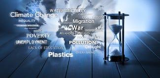 Weltglobale Problem-Frage-Zeit-Sanduhr stockfoto