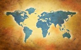 Weltgrunge Karte Stockfotografie