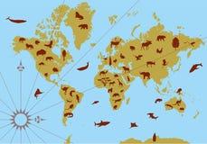 Welthöhenlinienkarte mit Tieren Stockfotografie