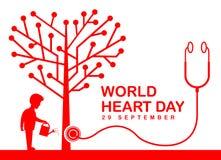 Weltherz-Tagesfahne mit dem Menschen, der einen Herzbaum- und -stethoskopvektor wässert, entwerfen Stock Abbildung