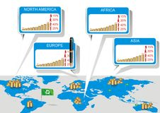 Weltinformationsdiagramm-Vektorillustration Lizenzfreie Stockbilder