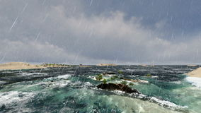 Weltkünstliche Insel in der Ferninsel am Regen lizenzfreie abbildung
