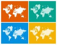 Weltkarte in 4 Arten Lizenzfreies Stockfoto